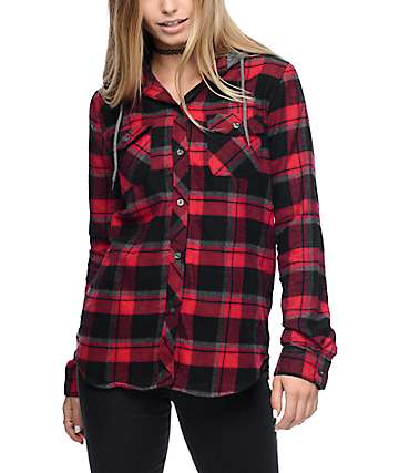 Empyre Eddy Red & Black Plaid Hooded Flannel