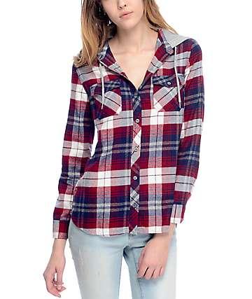 Empyre Eddy camisa de franela con capucha en azul marino y rojo
