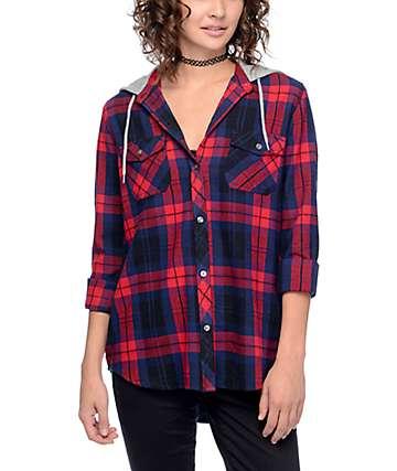 Empyre Eddy camisa de franela con capucha en rojo y azul