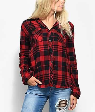 Empyre Eddy camisa de franela en rojo y negro con capucha con efecto tie dye