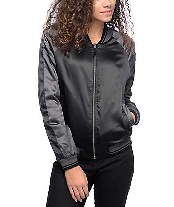 Empyre Effie Black Satin Bomber Jacket