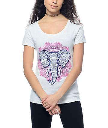 Empyre Elephant Mandala Heather White T-Shirt