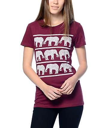 Empyre Elephant Parade camiseta de color granate