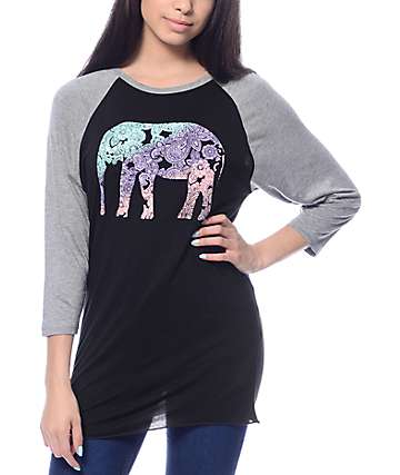 Empyre Elephant Sawyer Black & Grey Baseball T-Shirt
