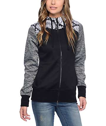 Empyre Elice Black, Grey & Floral Tech Fleece Hoodie