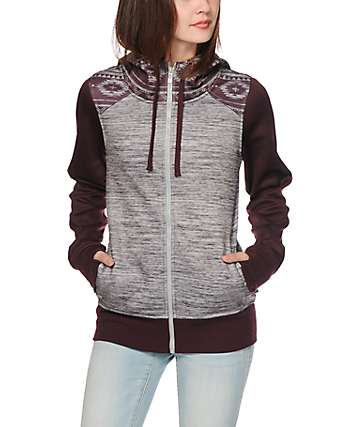 Empyre Elice Burgundy Tribal Tech Fleece Jacket