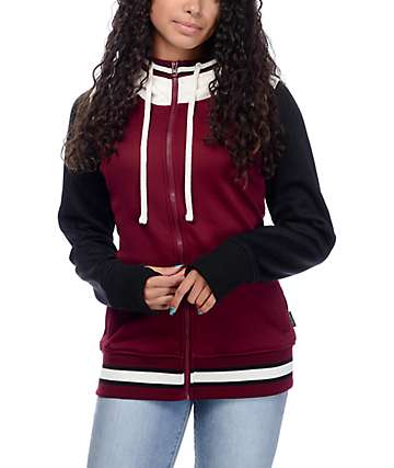Empyre Elice Varsity Black, Burgundy & Cream Tech Fleece Hoodie