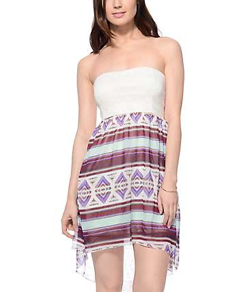 Empyre Ellis Tribal Mint Tube Dress