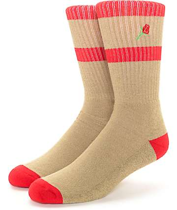 Empyre Emblem Rose Embroidery Khaki Crew Socks