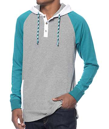Empyre Emerald City Grey, White, & Teal Henley Hoodie