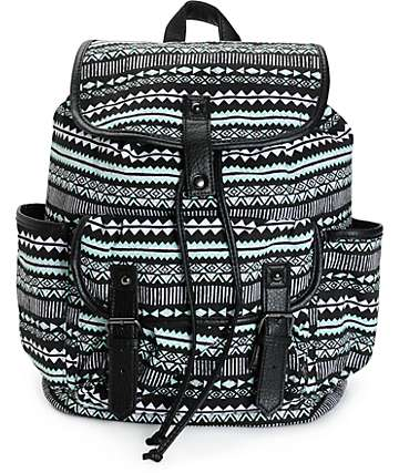 Empyre Emily Mint & Black Tribal Rucksack Backpack