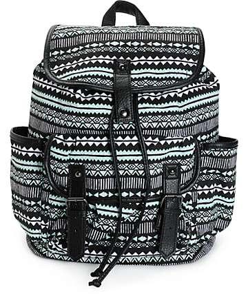 Empyre Emily Mint & Black Tribal Rucksack Backpack