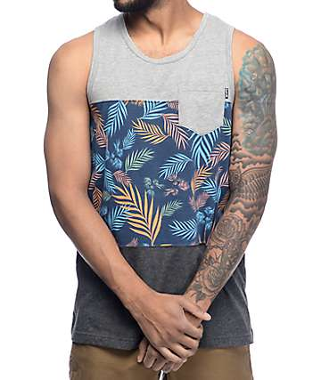 Empyre Encore Grey Palm Pocket Tank Top