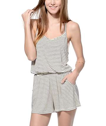 Empyre Eve Cream and Black Mini Stripe Romper