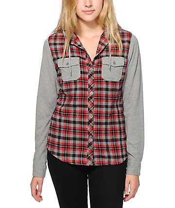Empyre Exeter Grey & Red Hooded Flannel