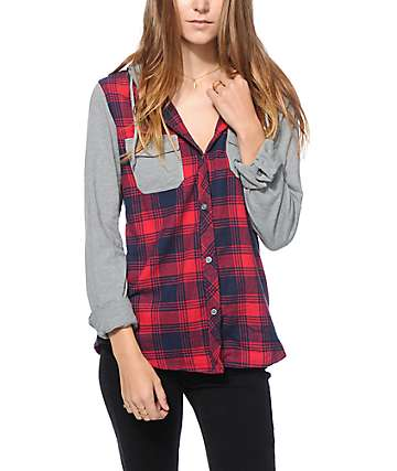 Empyre Exeter Red & Navy Hooded Flannel Shirt