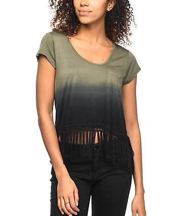 Empyre Fakie Olive Ombre Fringe Crop Top