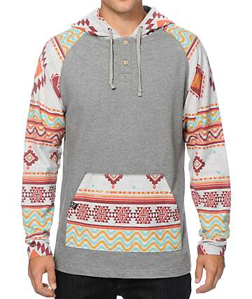 Empyre Feelin Good Tribal Hooded Henley Shirt