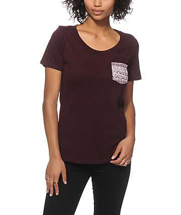 Empyre Felicia Burgundy Tribal Pocket T-Shirt