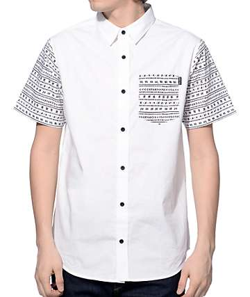 Empyre Fields Tribal Sleeve White Button Up Shirt