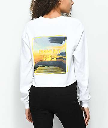 Empyre Fierce Femme White Long Sleeve Crop T-Shirt