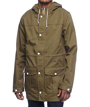 Empyre Fission verde & chaqueta de sarga con capucha en blanco