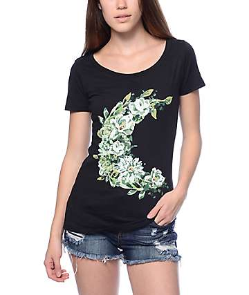 Empyre Floral Moon Black T-Shirt