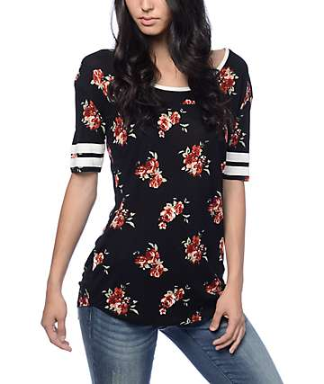 Empyre Francis Floral Rose Black Football Tee