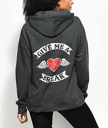 Empyre Fredia Give Me A Break Charcoal Hoodie
