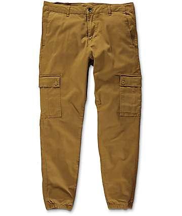 Empyre Freight pantalones asargados jogger cargo de color tobaco