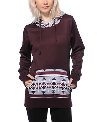 Empyre Frostier Maroon Tribal Tech Fleece Hoodie