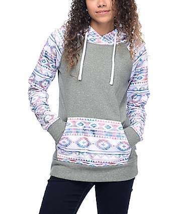 Empyre Frosty Heather Grey Tribal Tech Fleece Hoodie