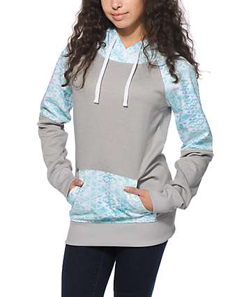 Empyre Frosty Mint Tribal Block Tech Fleece Hoodie