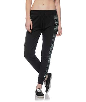 Empyre Gabby Mint & Black Tribal Panel Jogger Pants