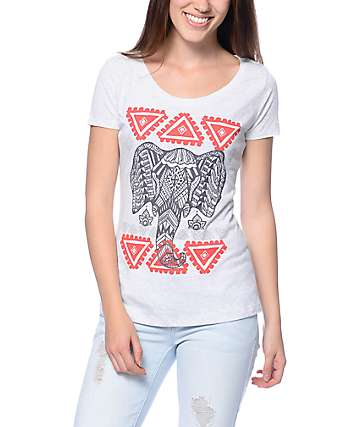 Empyre Geo Elephant Head White Scoop T-Shirt