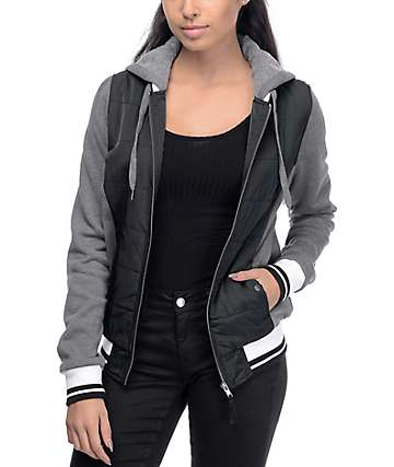 Empyre Georgie Black & Grey Hooded Bomber Jacket