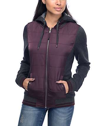Empyre Georgie Blackberry & Charcoal Hooded Bomber Jacket