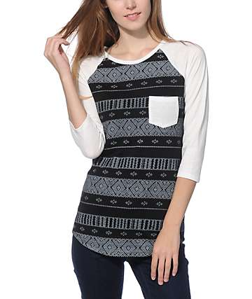 Empyre Georgina Black & White Tribal Stripe Baseball Tee