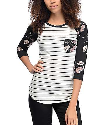 Empyre Georgina Black Stripe & Floral Baseball T-Shirt