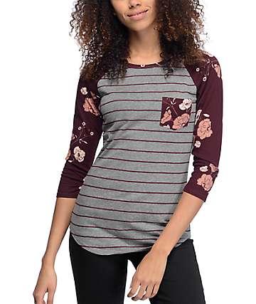 Empyre Georgina Burgundy Stripe & Floral Baseball T-Shirt