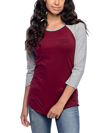 Empyre Georgina Whatever Forever Burgundy & Grey Baseball Tee