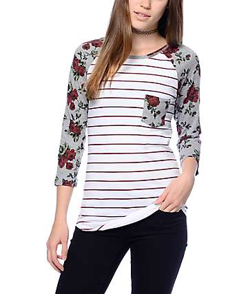 Empyre Georgina White & Floral Striped Baseball T-Shirt