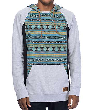 Empyre Get Smart Blue & Grey Tribal Mesh Hoodie