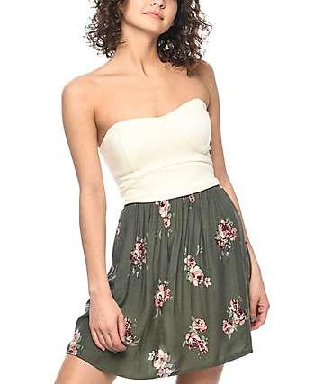 Empyre Gina vestido floral en verde olivo y color crema