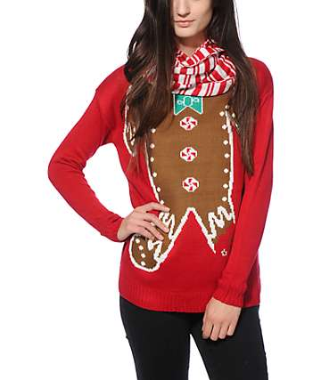 Empyre Gingerbread Holiday Sweater & Scarf Set