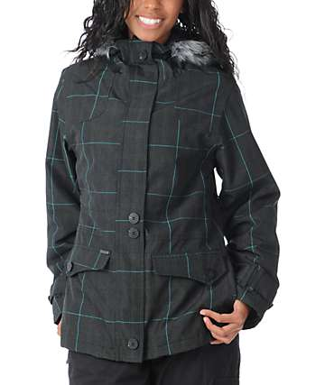 Empyre Glendale Grey Plaid 10K Fur Hood Snowboard Jacket