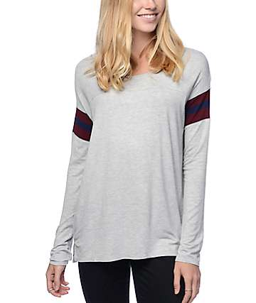 Empyre Goldie Grey & Burgundy Stripe Long Sleeve Top