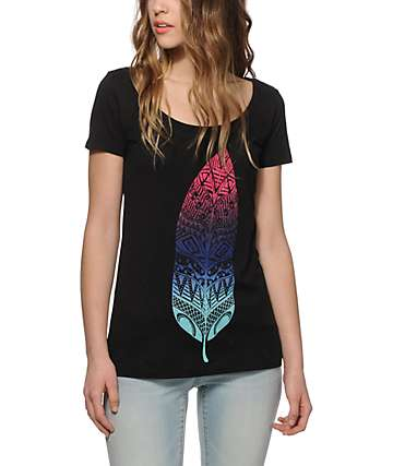 Empyre Gradient Feather Scoop Neck T-Shirt