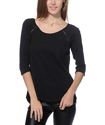Empyre Guillermo Crochet Back Black Thermal Top