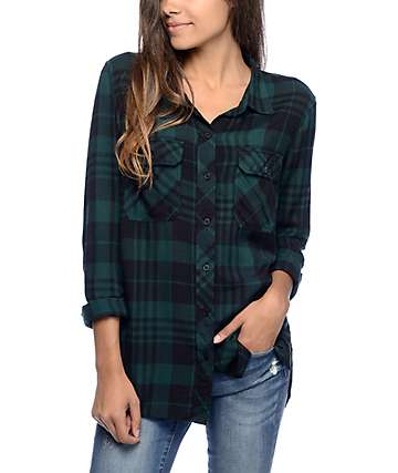 Empyre Hadley Green & Black Plaid Button Up Shirt